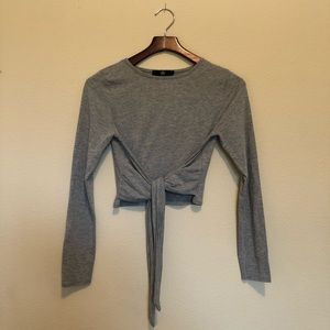 Missguided Long Sleeve Tie Front Crop Top Gray